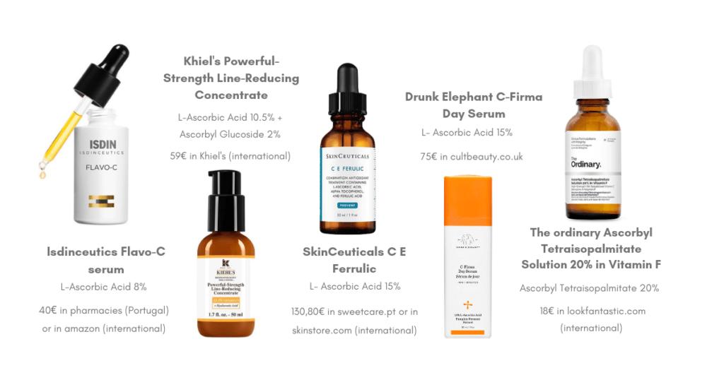 Produtos de skincare com Vitamina C